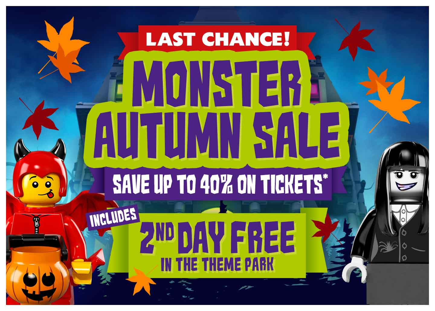 Book your family LEGOLAND Windsor Resort short break from the 5th September until 2nd November and save up to 40% in our Monster Sale. Packages include hotel + breakfast.